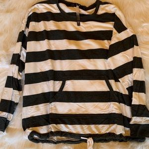 Gray and white striped top- Size large